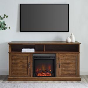 Dayton Dark Walnut Fireplace TV Stand