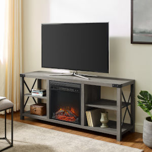 Gray X Frame Fireplace Console