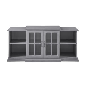 Antique Gray 60-Inch Classic Two-Door Tiered TV Console