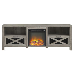 Abilene Gray and Black Fireplace TV Stand