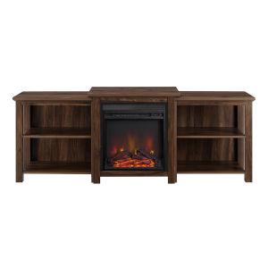 Dark Walnut 16-Inch Tiered Top Open Shelf Fireplace TV Console