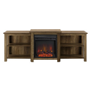 Reclaimed Barnwood 70-Inch Tiered Top Open Shelf Fireplace TV Console