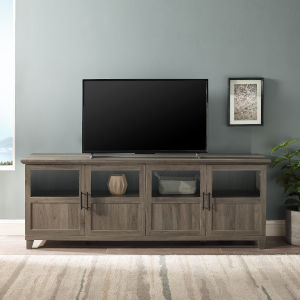 Goodwin Slate Gray TV Console with Four Panel Door