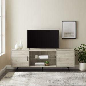 Nora Birch Two Door TV Stand with Glass Shelf