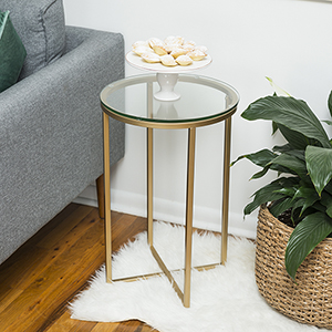 16-Inch Round Side Table - Glass/Gold