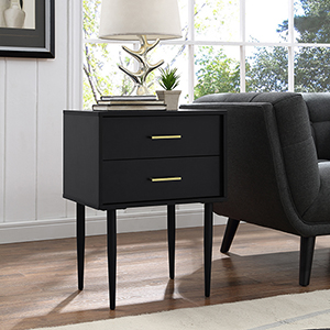 20-Inch Olivia Two-Drawer Side Table - Black