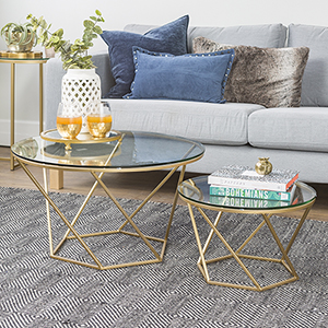 Geometric Glass Nesting Coffee Tables - Gold