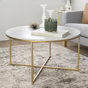 36-Inch Coffee Table with X-Base - Marble/Gold