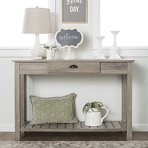 48-Inch Country Style Entry Console Table - Gray Wash