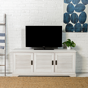 Angelo HOME 60-Inch Louvered Door TV Console - White Wash