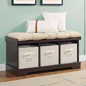 42-inch Wood Storage Bench with Totes and Cushion - Espresso