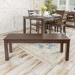 48-Inch Angelo HOMEstead Simple Wood Dining Bench - Walnut