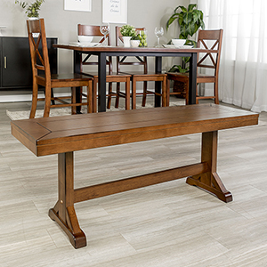 48-Inch Millwright Wood Dining Bench - Antique Brown