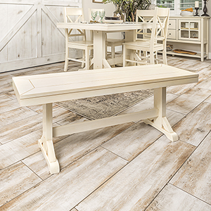 48-Inch Millwright Wood Dining Bench - Antique White