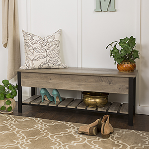 48-Inch Open-Top Storage Bench with Shoe Shelf  - Gray Wash