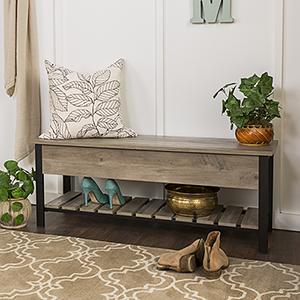 48-Inch Open-Top Storage Bench with Shoe Shelf  - Gray Wash