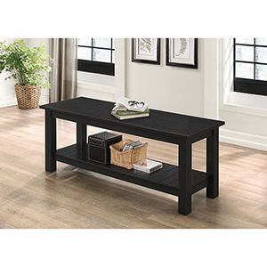 50-Inch Country Style Black Entry Bench with Slatted Shelf