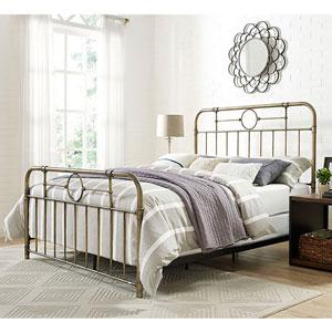 Queen Size Bronze Metal Pipe Bed