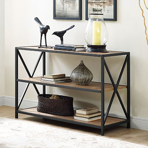 40-inch X-Frame Metal and Wood Media Bookshelf - Barnwood