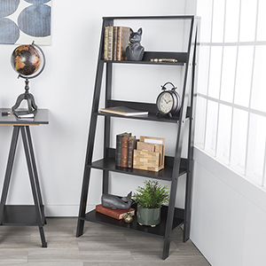 55-Inch Wood Ladder Bookshelf - Black