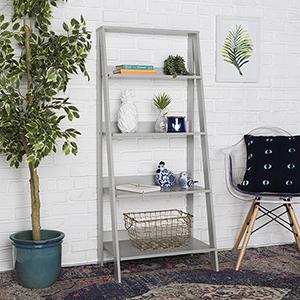 55-Inch Wood Ladder Bookshelf - Grey