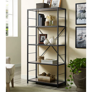 60-inch Rustic Metal and Wood Media Bookshelf - Driftwood