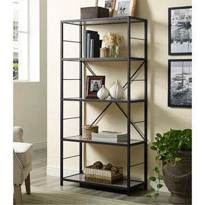 60-inch Rustic Metal and Wood Media Bookshelf - Driftwood