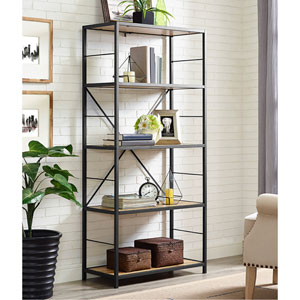 60-inch Rustic Metal and Wood Media Bookshelf - Barnwood