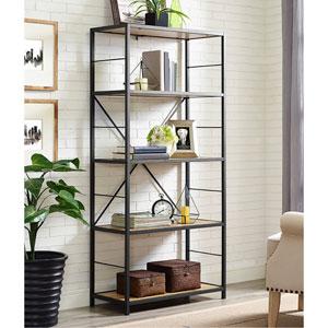 60-inch Rustic Metal and Wood Media Bookshelf - Barnwood