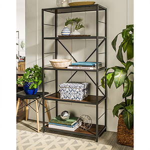 63-Inch Rustic Metal and Wood Media Bookshelf - Dark Walnut