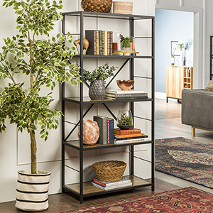 63-Inch Rustic Metal and Wood Media Bookshelf - Rustic Oak