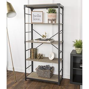 64-Inch Angle Iron Bookshelf - Driftwood