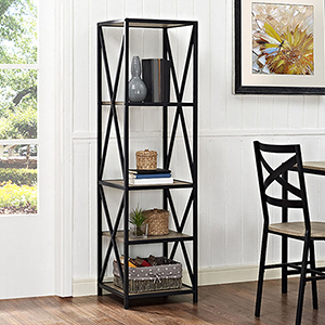 61-Inch Tall X-Frame Metal and Wood Media Bookshelf - Driftwood