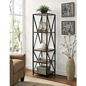 61-Inch Tall X-Frame Metal and Wood Media Bookshelf - Barn wood