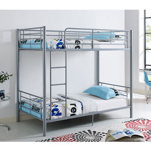 Twin Metal Bunk Bed - Silver