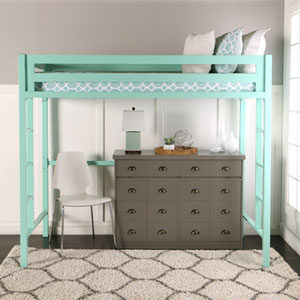 Bentley Twin Metal Loft Bed - Mint