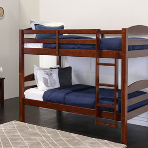 Espresso Twin Solid Wood Double Bunk Bed