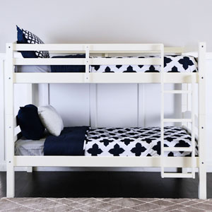White Twin/Twin Solid Wood Bunk Bed