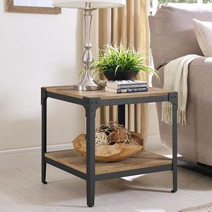 Angle Iron Rustic Wood End Table, Set of 2 - Barnwood