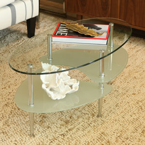Wave Clear Oval Coffee Table