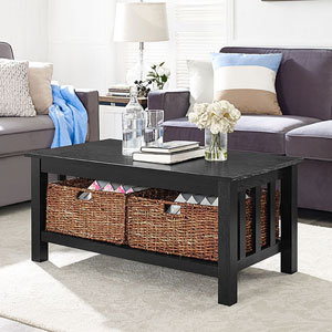 40-inch Wood Storage Coffee Table with Totes - Black