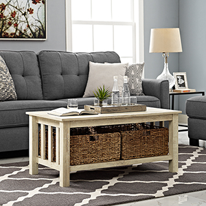 40-Inch Wood Storage Coffee Table with Totes - White Oak