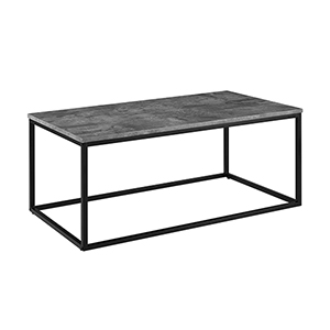 42-Inch Mixed Material Coffee Table - Dark Concrete