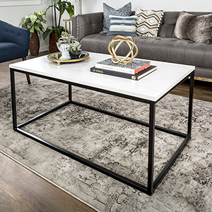 42-Inch Mixed Material Coffee Table - Marble