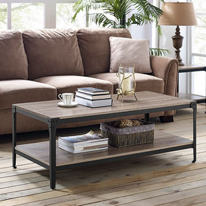 Angle Iron Rustic Wood Coffee Table - Driftwood