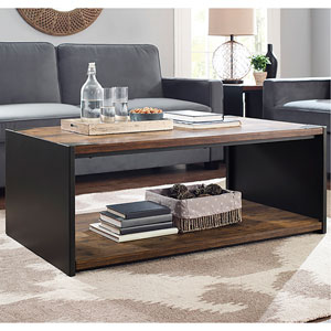 48-inch Steel Plate and Wood Coffee Table