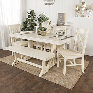 Millwright 6 Piece Wood Dining Set - Antique White