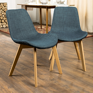 Upholstered Side Accent Chairs, Set of 2 - Blue