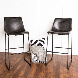 Black Faux Leather Barstools - Set of 2