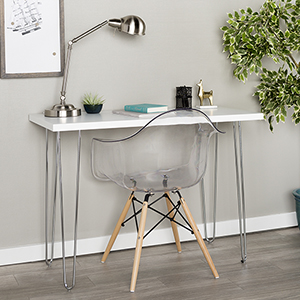 42-Inch Hairpin Leg Wood Writing Desk - White